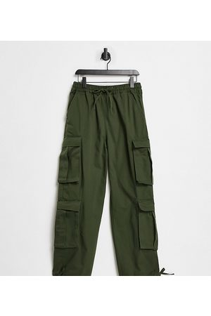 COLLUSION Pants - Unisex low rise baggy utility trousers in khaki