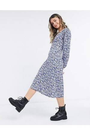 Miss Selfridge Midi tea dress in purple floral