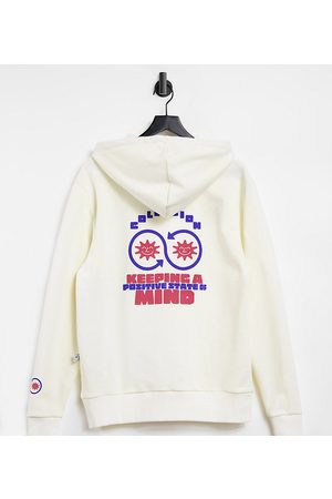 COLLUSION Unisex hoodie with print in ecru
