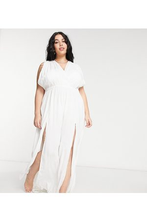 ASOS ASOS DESIGN curve recycled gathered detail maxi beach dress in