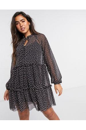 River Island Polka dot belted mini dress in
