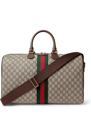 Gucci Men Travel Bags - Ophidia Leather and Webbing-Trimmed Monogrammed Coated-Canvas Duffle Bag