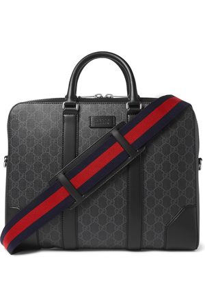 Gucci Men Briefcases - Leather-Trimmed Monogrammed Coated-Canvas Briefcase