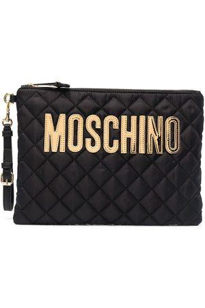 Moschino Logo-plaque diamond-quilt clutch bag