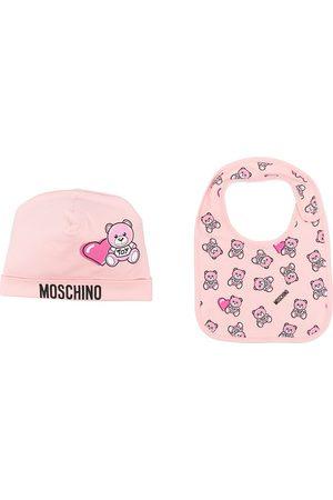 Moschino Logo teddy print hat set