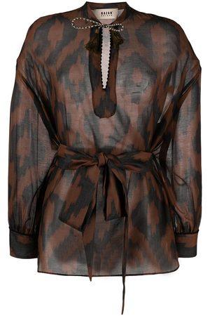 Bazar Deluxe Geometric-print long-sleeve blouse