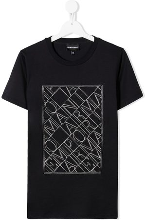 Emporio Armani Boys Short Sleeve - Logo-embroidered crew-neck T-shirt