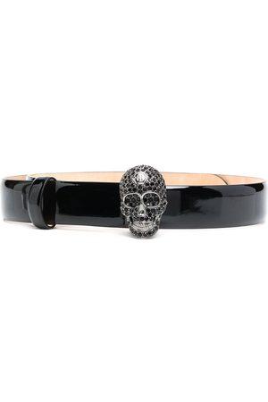 Philipp Plein Women Belts - Crystal-skull patent leather belt