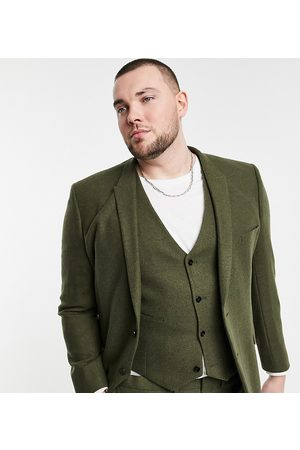 ASOS Plus skinny wool mix suit jacket in khaki twill