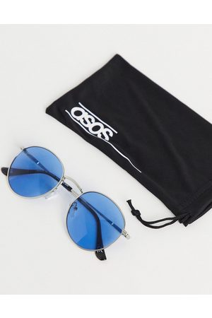 ASOS Round sunglasses in metal with blue lens