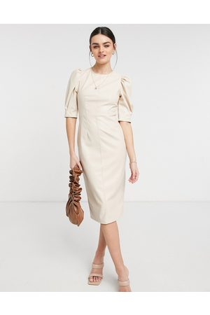 ASOS Women Pencil Dresses - Leather look puff sleeve pencil skirt midi dress in stone