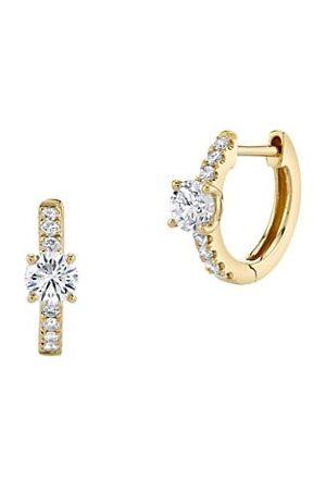 Anita Ko Earrings - 18K & Diamond Huggie Hoop Earrings