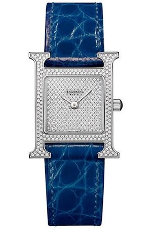 Hermès Watches - Heure H 21MM Stainless Steel, Full Diamond Pavé & Alligator Strap Watch