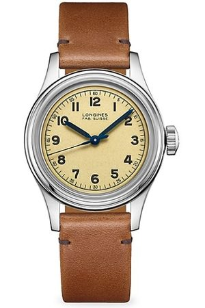 Longines Men Watches - The Heritage Military Stainless Steel & Leather-Strap Watch