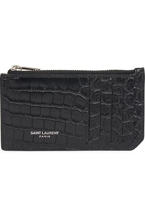 Saint Laurent Men Wallets - Croc-Embossed Leather Card Holder