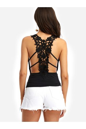 YOINS Women Camisoles - Sexy V-neck Hollow Out Lace Insert Cami