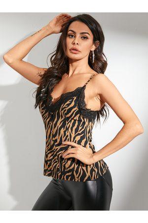 YOINS Adjustable Shoulder Straps Zebra Stripe Lace Chiffon Cami