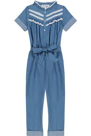 Tartine Et Chocolat Lace-trimmed cotton chambray jumpsuit