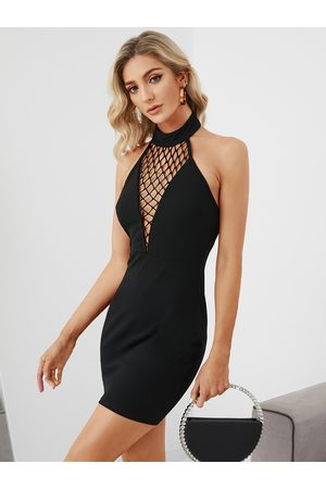 YOINS Backless Fishnet Hollow Design Halter Dress