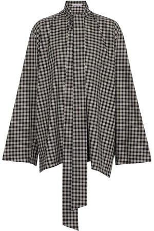 Balenciaga Oversized checked cotton-blend blouse