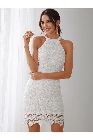 YOINS Women Bodycon Dresses - Halter Neck Delicate Lace Bodycon Midi Dress