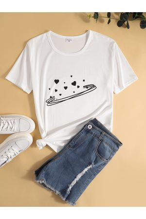 YOINS Cute Valentine's Print Crew Neck Short Sleeves Tee