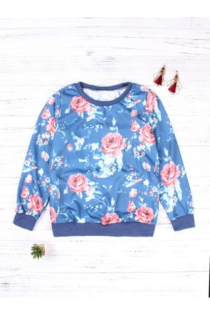 YOINS Floral Print Round Neck Pullover Sweatshirt