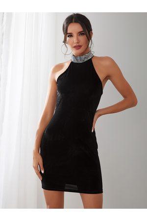 YOINS Women Bodycon Dresses - Halter Backless Design Sleeveless Bodycon Dress