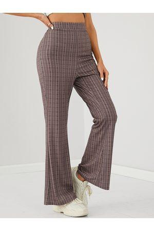 YOINS Plaid High Waisted Flare Pants