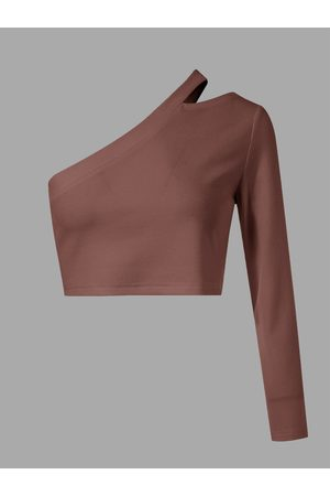 YOINS Cut Out One Shoulder Long Sleeves Crop Top