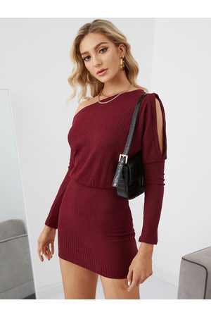 YOINS Burgundy Cut Out One Shoulder Bodycon Hem Dress
