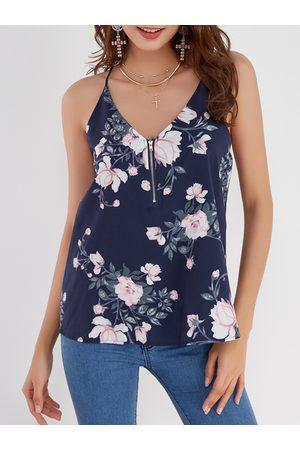 YOINS Random Floral Print V-neck Camis with Zip Design