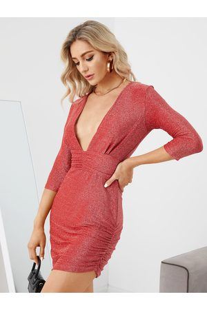 YOINS Ruched Glitter Bodycon Dress