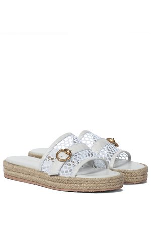 Gianvito Rossi Leather-trimmed espadrille slides