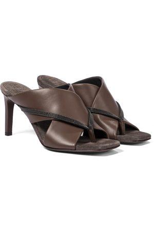 Brunello Cucinelli Embellished leather thong sandals