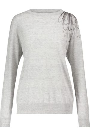 Brunello Cucinelli Women Jumpers - Embellished linen and cotton sweater