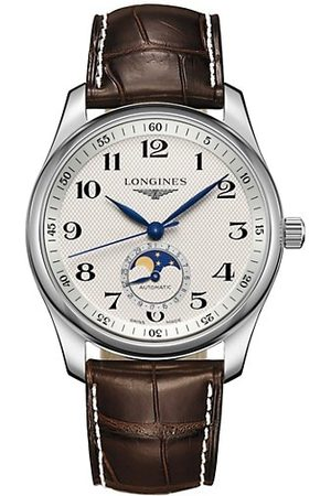 Longines Master Stainless Steel & Alligator Strap Moon-Phase Watch