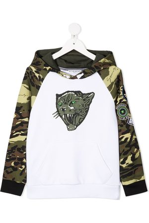 Givenchy Boys Jumpers - Camouflage-print pullover hoodie