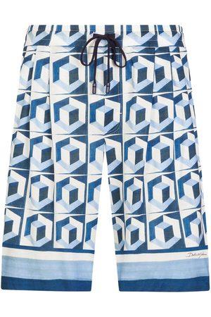Dolce & Gabbana Men Bermudas - Geometric print drawstring shorts