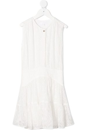 Chloé Girls Casual Dresses - Lace embroidered shift silk dress