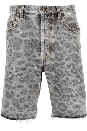 Saint Laurent Leopard-print denim shorts