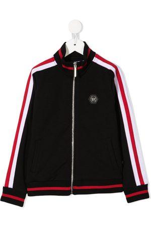 Philipp Plein Junior Contrast panel zip-up sweatshirt