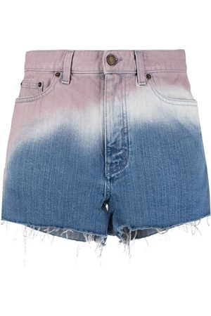 Saint Laurent Ombré-effect denim shorts