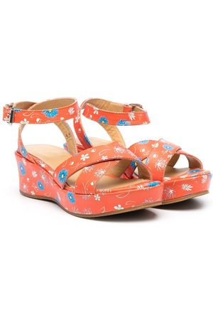 GALLUCCI TEEN floral-print leather sandals