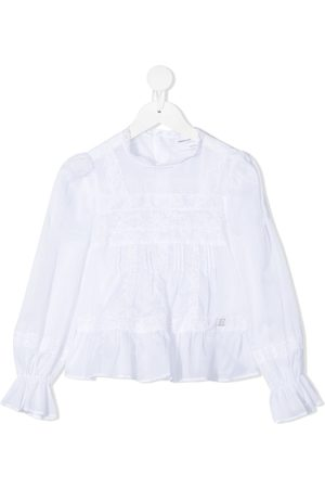 ERMANNO SCERVINO JUNIOR Lace-detailed draped-sleeved blouse