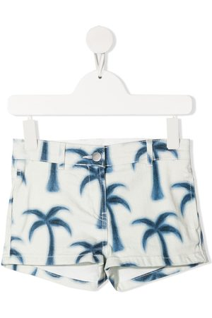 Stella McCartney Girls Shorts - Palm tree-print denim shorts