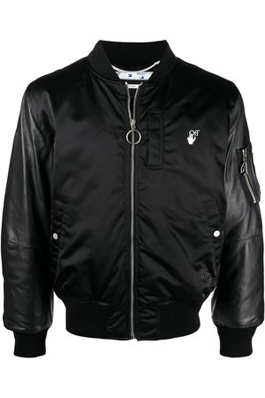 OFF-WHITE Men Leather Jackets - HAND OFF LEATHER BOMBER WHITE