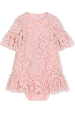 Dolce & Gabbana Lace-overlay ruffle-detail dress