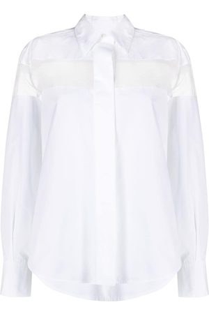VALENTINO Women Long Sleeve - Sheer-panel long-sleeve shirt