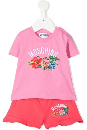 Moschino Girls Tracksuits - Floral-print logo tracksuit set